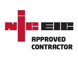 """NIC EIC approved contractor"", NIC Eic logo, Linn electrical Contractors Ltd, Trowbridge, Wiltshire"