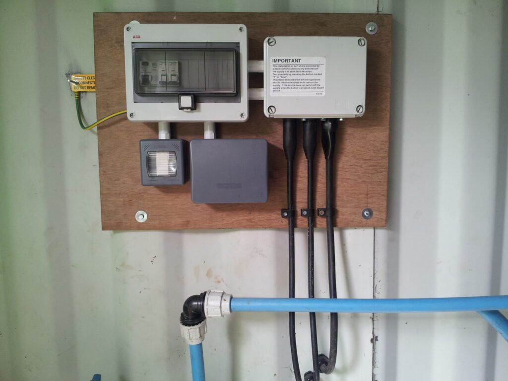 switch board with SWA cables, Linn electrical Contractors Ltd, Trowbridge, Wiltshire