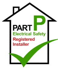 """Part P Electrical Safety Registered installer"" Part P Logo, Linn electrical Contractors Ltd, Trowbridge, Wiltshire"